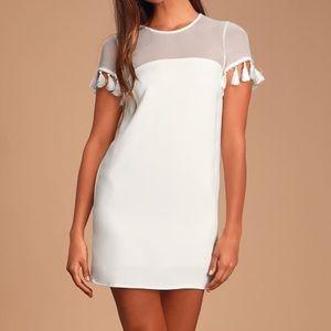 Lulus White Mesh Tassel Sleeve Boho Shift Dress